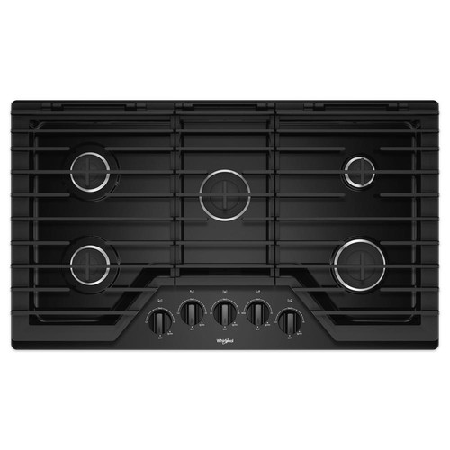 Whirlpool 36 in. Gas Cooktop in Black with 5 Burners and EZ-2-LIFT Hinged Cast-Iron Grates