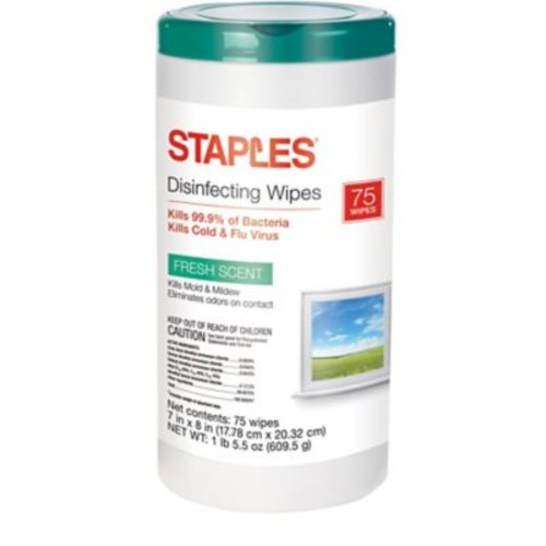 Staples Disinfecting Wipes, Fresh Scent, 75 Wipes/Canister