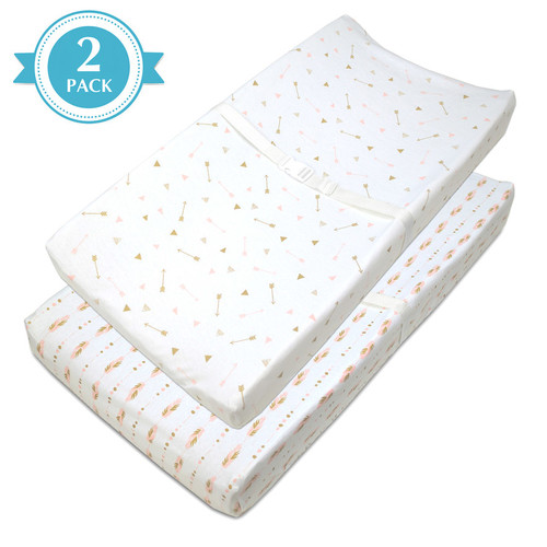 TL Care 2 Pack Arrows & Feathers Jersey Knit Fitted Contoured Changing Table Pad Cover