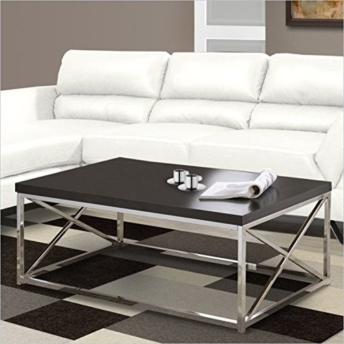 Monarch Specialties I 3270, Cocktail Table, Chrome Metal, Cappuccino [Cappuccino]