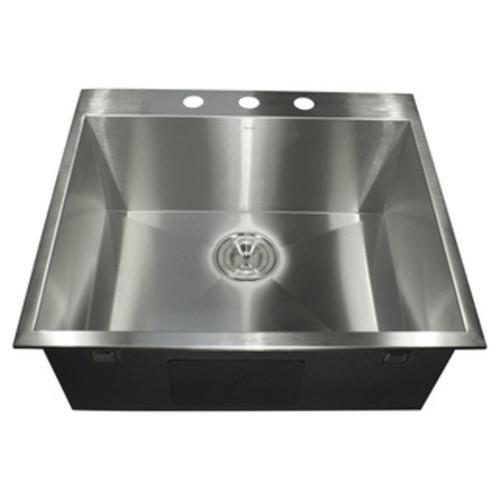 19-Inch 16 Gauge Stainless Steel Topmount Drop-In Kitchen Island Bar Sink