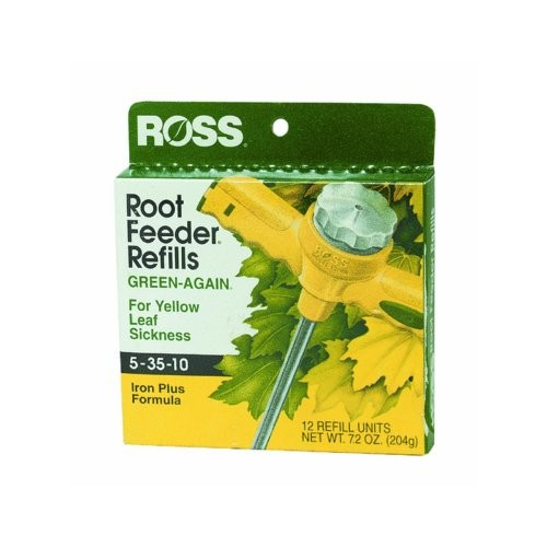 Ross Green-Again Fertilizer Refills for Ross Root Feeder, 5-35-10 (Iron Plus Formula for Yellow Leaf Sickness), 12 Refills