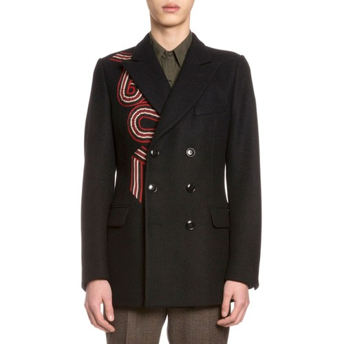 DRIES VAN NOTEN Brodie Embroidered Double-Breasted Coat, Navy