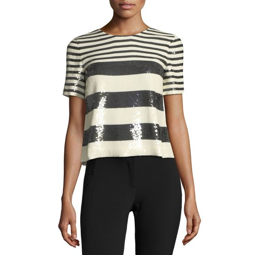 VERONICA BEARD Striped Sequin Boxy Crewneck Tee