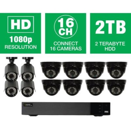Q-SEE 16-Channel 1080p Indoor/Outdoor Surveillance 2TB DVR System with (8) HD Dome Cameras and (4) HD Bullet Cameras