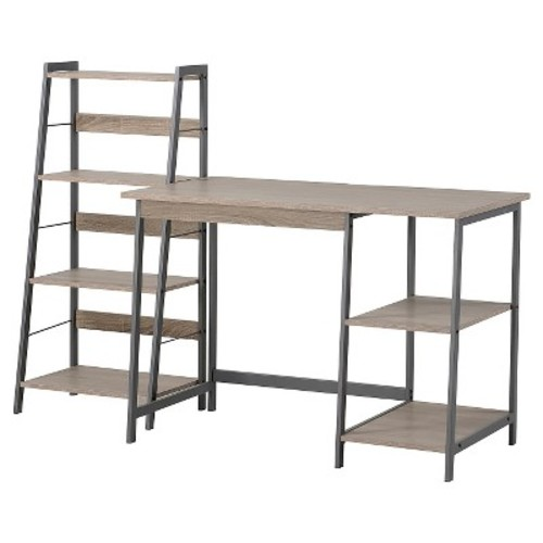 2 Piece Set Laptop Desk & 4 Shelf Bookcase Reclaimed Wood - Homestar