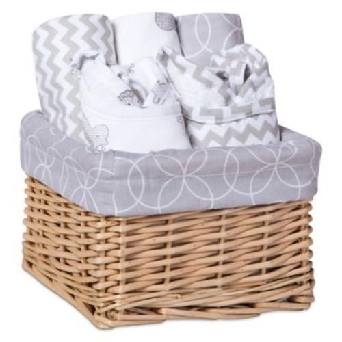 Trend Lab 7-Piece Feeding Basket Gift Set in Safari Grey