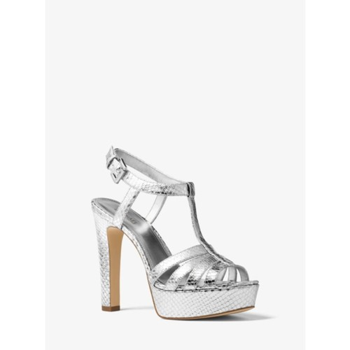 Catalina Metallic Embossed-Leather Sandal