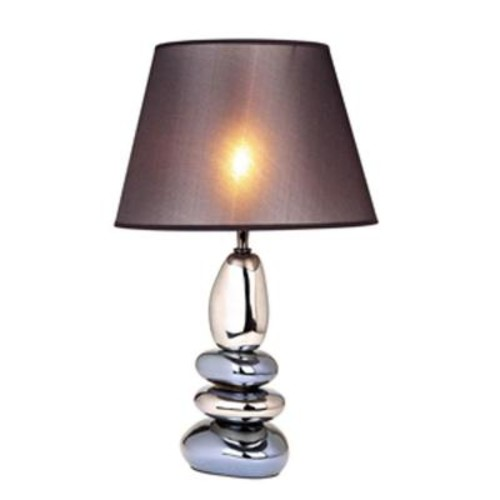 Elegant Designs 21.5 in. Stacked Chrome and Metallic Blue Stones Ceramic Table Lamp with Black Shade