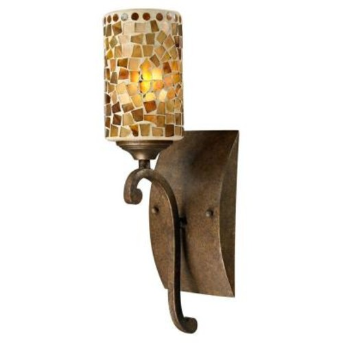 Springdale Lighting Knighton 1-Light Antique Golden Bronze Sconce with Mosaic Art Glass