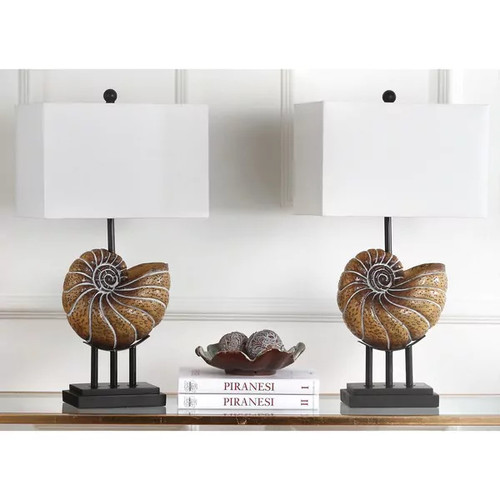 Safavieh Indoor 1-light Nautilus Shell Light Brown Table Lamp (Set of 2)