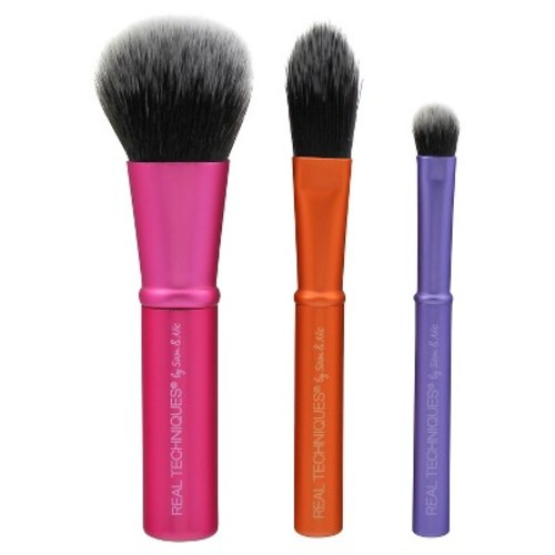 Real Techniques Cruelty Free Mini Brush Trio; With Ultra Plush Custom Cut Synthetic Bristles and Extended Aluminum Ferrules to Build Coverage