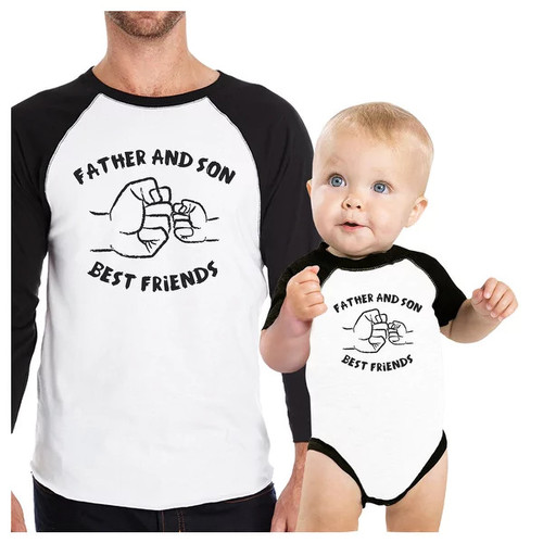 Father And Son Best Friends Matching Shirts Raglan 3/4 Sleeve Tees