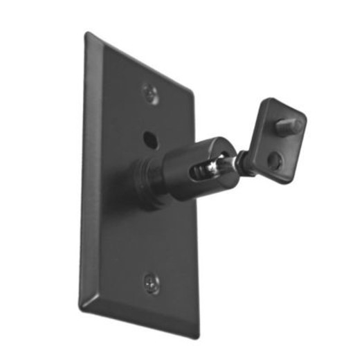 Universal Speaker Wall/Ceiling Mount w/ Electrical Box Installation Adapter Plate in Black