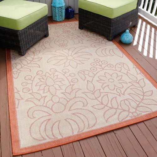 Lavish Home Botanical Garden Indoor/Outdoor Area Rug - Orange- 5
