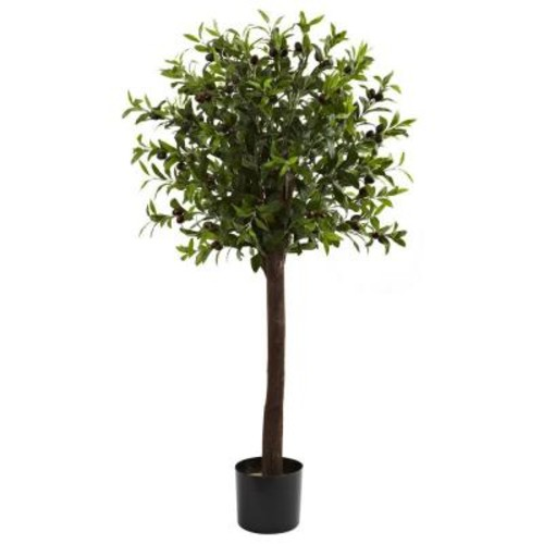 Nearly Natural 4 ft. Olive Topiary Silk Tree