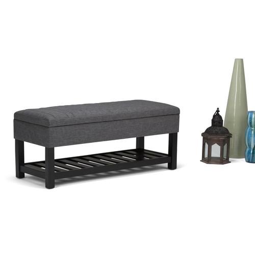 Simpli Home Memphis Slate Grey Linen Look Fabric Storage Ottoman