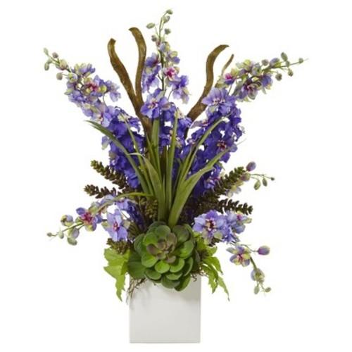 Delphinium & Succulent Arrangement Purple - Nearly Natural