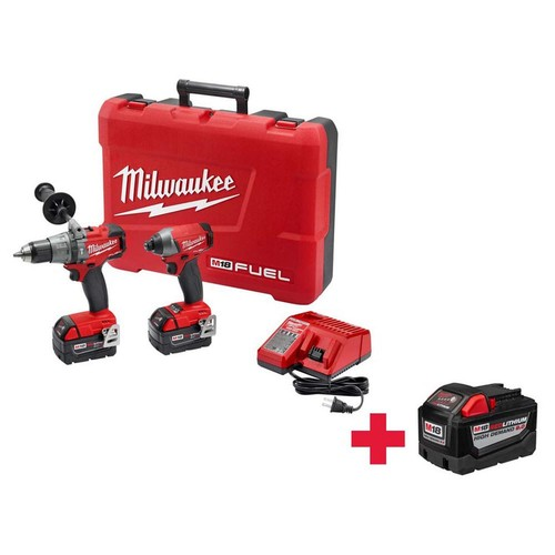 Milwaukee M18 FUEL 18-Volt Lithium-Ion Cordless Brushless Hammer Drill/Impact Driver Combo Kit with Free 9.0AH High Demand Battery