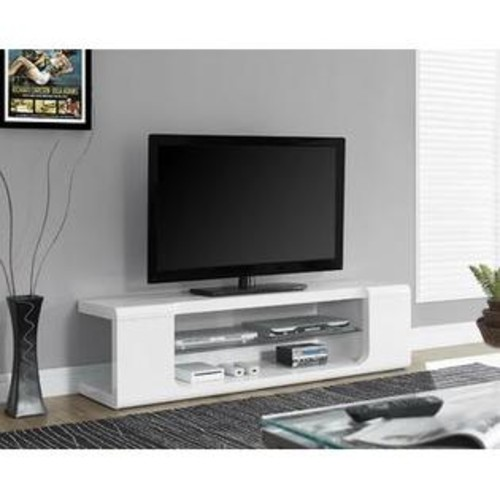 Monarch Specialties High Glossy White TV Console With Tempered Glass I 3535