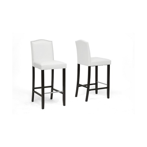 Libra White Modern Bar Stool with Nail Head Trim Set of 2