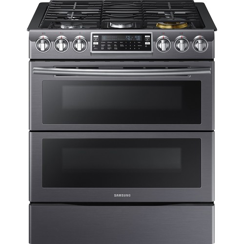 Samsung - 5.8 Cu. Ft. Gas Flex Duo Self-Cleaning Slide-In Smart Range with Convection - Black stainless steel