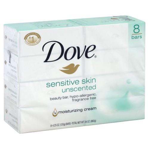 Dove Beauty Bar, Sensitive Skin, Unscented, 8 - 4.25 oz bars