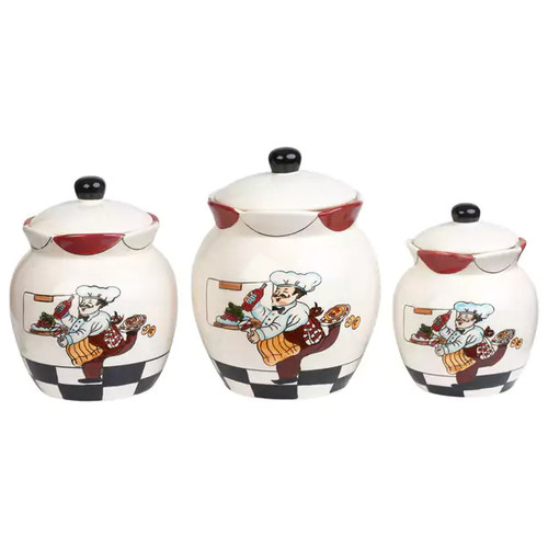 Chef Ceramic 3 Piece Deluxe Canister Set