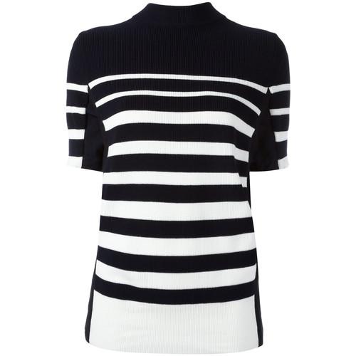 SACAI Short Sleeved Striped Sweatshirt