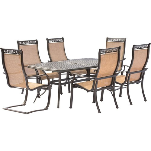 Hanover Manor 7-Piece Aluminum Rectangular Outdoor Dining Set with 2 Spring Sling Chairs and Cast-Top Table