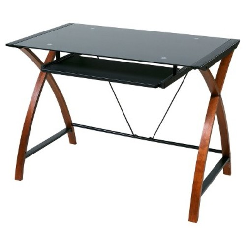 Glass and Wood Computer Desk with Pullout Keyboard Tray - Onespace
