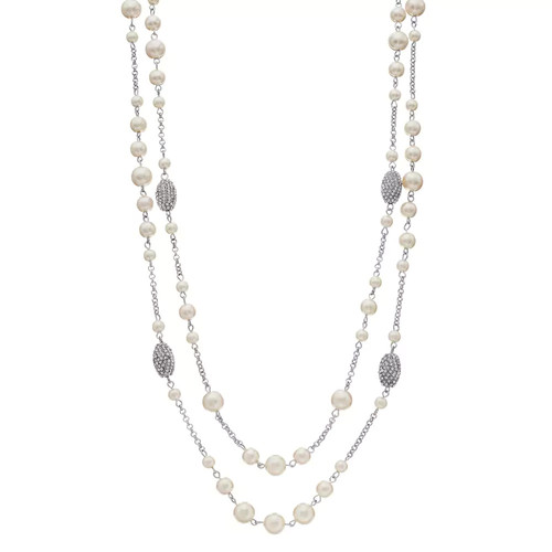 Long Simulated Pearl Double Strand Station Necklace