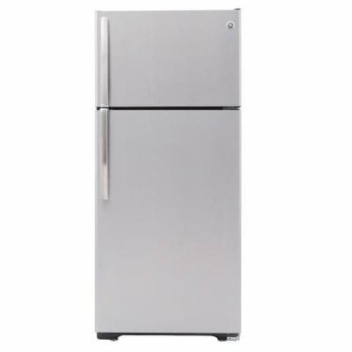 GE 15.5 cu. ft. Top Freezer Refrigerator in Stainless Steel