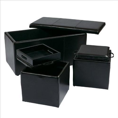 Office Star Metro 3-Piece Bench and Ottoman Cube Set in Eco Leather, Espresso [Espresso]