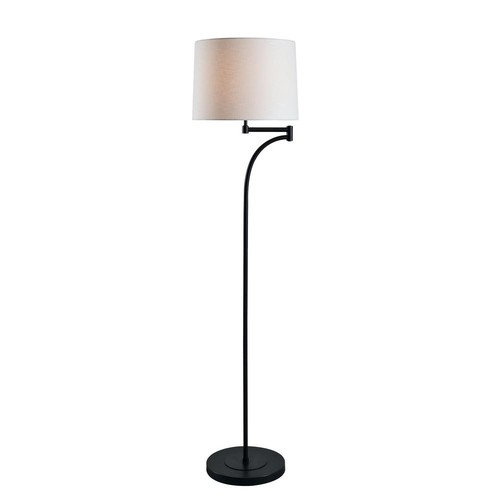 Kenroy Home Seven 59 in. Oil Rubbed Bronze Floor Lamp with White Tapered Shade