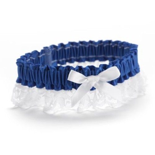 HBH Petite Garter With White Bows and Delicate Lace Trim, Royal Blue