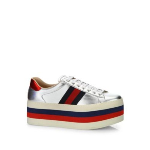 GUCCI Ace Metallic Leather Platform Sneakers
