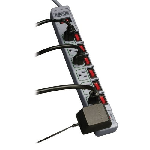 Tripp Lite 7 Outlet (6 Individually Controlled) Surge Protector Power Strip, 6ft Cord, & $25K INSURANCE (TLP76MSG)