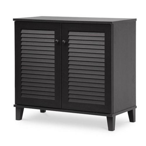 Baxton Studio Coolidge Shoe-Storage Cabinet, Espresso [Espresso, 14.5Lx29.625Wx27.5H]
