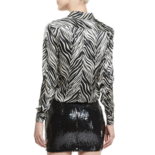 SAINT LAURENT Zebra-Print Silk Blouse, Black/White