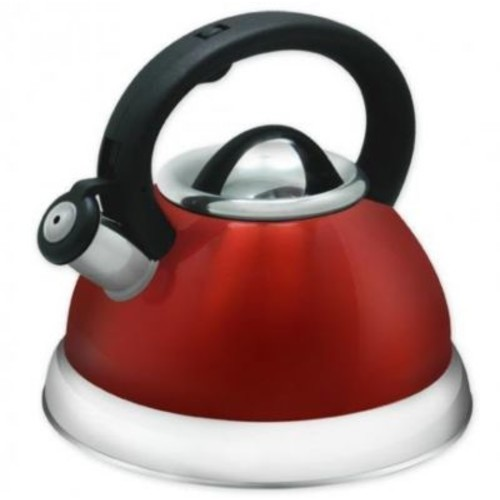 Imperial Home 3 Qt. Stainless Steel Whistling Tea Kettle; Red