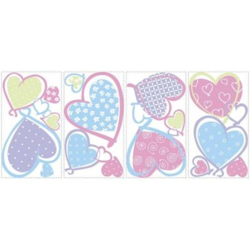 RoomMates 5 in. x 11.5 in. Hearts Peel and Stick Wall Decal