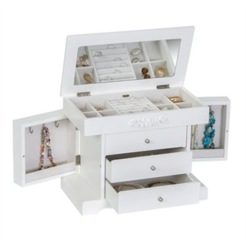 Mele & Co. Montague Wooden Jewelry Box in White Finish