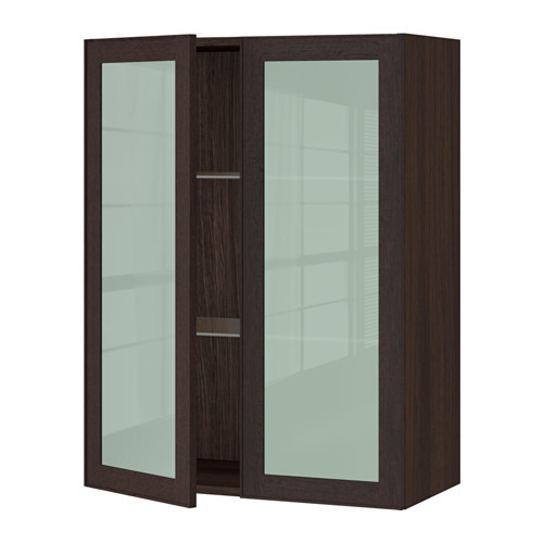 SEKTION Wall cabinet with 2 glass doors, brown, Jutis frosted glass