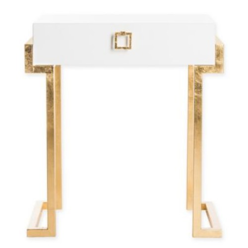 Safavieh Couture Abele Side Table in White Lacquer