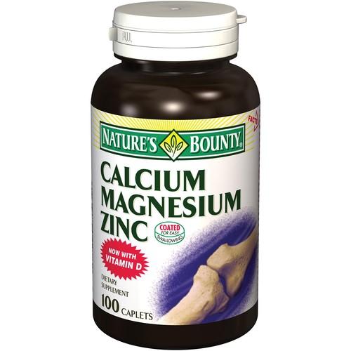 Nature's Bounty Calcium Magnesium Zinc Dietary Supplement Caplets 100 Count