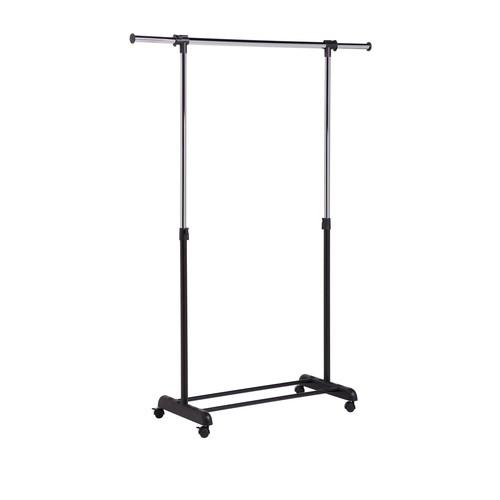 Expandable Chrome/Black Garment Rack