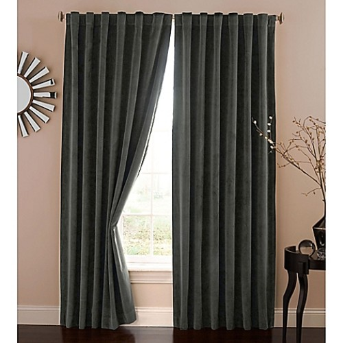 Absolute Zero 63-Inch Velvet Blackout Home Theater Curtain Panel in Charcoal