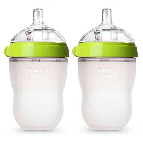 Comotomo Baby Bottle, Green, 8 Ounce, 2 Count [Green, 8 Ounce]