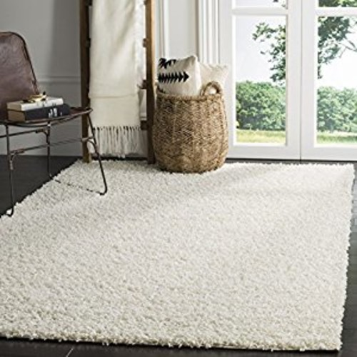 Safavieh Athens Shag Collection SGA119B White Area Rug, 5 feet 1 inches by 7 feet 6 inches (5'1
